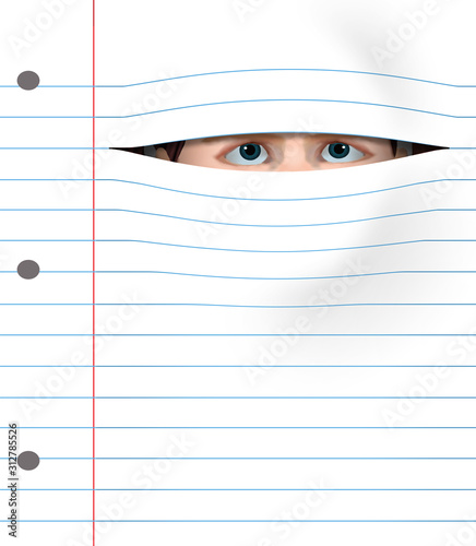 A girl with desperate eyes peers through a notebook page to illustrate a fear, aversion, dislike of school or homework Wallpaper Mural