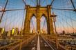 No people on Brooklyn bridge before sunrise, New York, USA