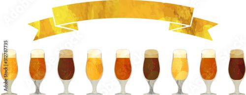 バナー_帯_クラフトビール_黒ビール_地ビール_グラス_ベクター_イラスト_お酒_アルコール Canvas Print