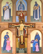 San Damiano Crucifix Above Altar In St Francis Cathedral Of Santa Fe, New Mexico