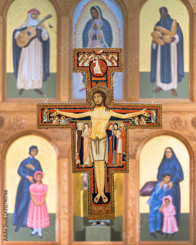Tablou Canvas San Damiano Crucifix above altar in St Francis Cathedral of Santa Fe, New Mexico
