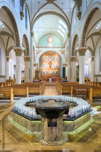 Fényképezés St. Francis Cathedral baptismal in Santa Fe, New Mexico