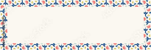 Fototapeta Colorful retro spring floral bloom seamless border pattern. Trendy spring vector banner background in 1950's style. Kawaii leaf and flower meadow n texture. Ribbon trim edge or web blog header obraz