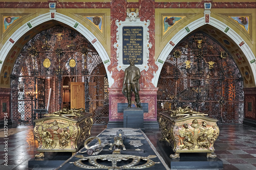 Interior of Christian IV's chapel in Roskilde Cathedral, Denmark, with statue and sarcophagus of king Christian IV of Denmark, sarcophagi of king Frederick III of Denmark and his wife Sophie Amalie Canvas Print