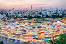 Beautiful View Of The Night Market In Bangkok, Thailand, Ratchada Rot Fai Night Market