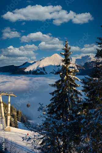 Fotografia, Obraz  Beautiful Mountian View in Morzine, French Alpine Resort, France during Winter