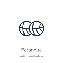 Petanque Icon. Thin Linear Petanque Outline Icon Isolated On White Background From Activity And Hobbies Collection. Line Vector Sign, Symbol For Web And Mobile