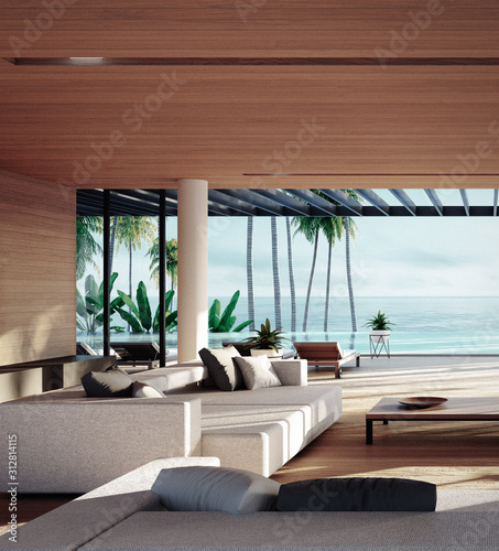 Cuadros en Lienzo Beach Tropical living & Sea view  for Vacation and Summer / interior 3d renderin