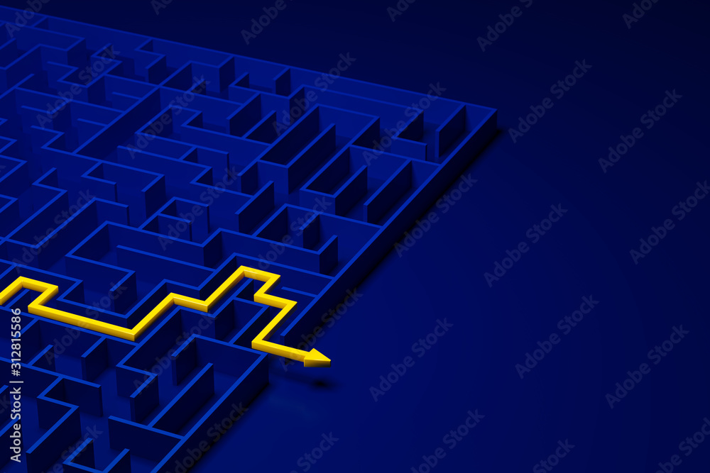 Fototapeta 3d rendering: Concept - solving a complex problem. Blue maze and floor with yellow solution path with arrow. Shot from above. White space to the right.