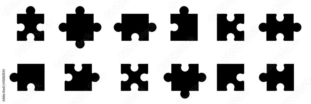 Fototapeta Puzzle jigsaw on white background. Vector illustration