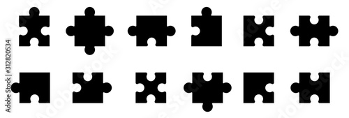 Obraz Puzzle jigsaw on white background. Vector illustration - fototapety do salonu