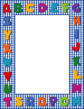 Alphabet Frame, Blue Gingham Check Border, Polka Dot Alphabet, Space To Customize, Personalize With Text And Pictures For Baby Books, Announcements, Posters, Daycare, Nursery School, Kindergarten.