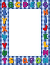 Alphabet Frame, Blue Gingham C...