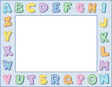 Alphabet Frame, Baby Blue Gingham Check Border, Pastel Polka Dot Alphabet, Space To Customize With Text And Pictures For Baby Books, Announcements, Posters, Daycare, Nursery School, Kindergarten.