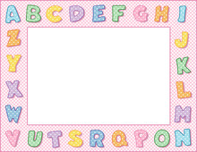 Alphabet Frame, Pink Gingham Check Border, Pastel Polka Dot Alphabet, Space To Customize With Text And Pictures For Baby Books, Announcements, Posters, Daycare, Nursery School, Kindergarten.