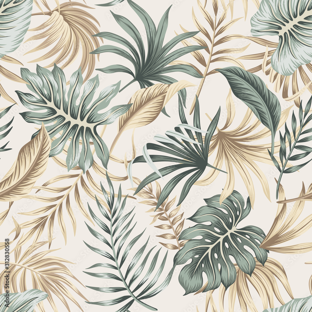 Fototapeta Tropical floral foliage palm leaves seamless pattern beige background. Exotic jungle wallpaper.