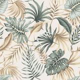 Tropikalne liście kwiatowy liści palmowych bezszwowe wzór beżowym tle. Tapeta egzotycznej dżungli. - 312830558