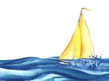 Yellow Sailing Ship With Orang...