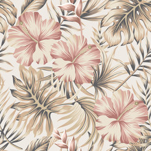 Tropical Vintage Hibiscus Flower, Palm Leaves Floral Seamless Pattern Ivory Background. Exotic Jungle Wallpaper.