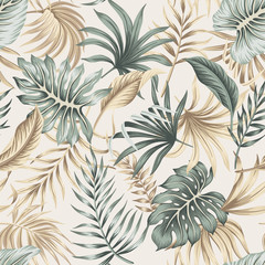 Naklejka Do kuchni Tropical floral foliage palm leaves seamless pattern beige background. Exotic jungle wallpaper.