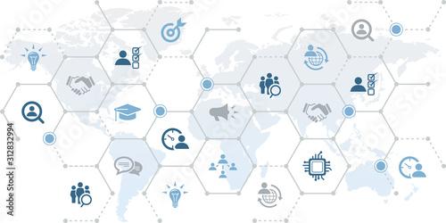 Fototapety, obrazy: human resources icon concept: worldwide recruitment / gig economy / hr analytics & hr strategy – vector illustration