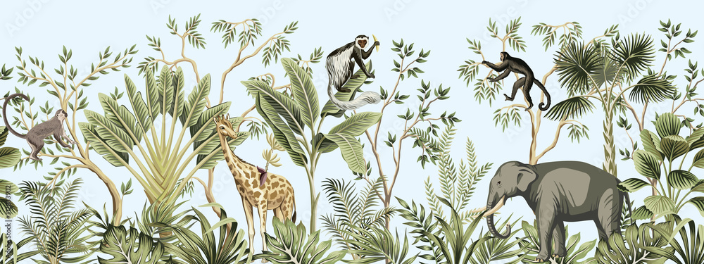 Fototapeta Tropical vintage botanical landscape, palm tree, banana tree, plant, palm leaves, giraffe, monkey, elephant floral seamless border blue background. Jungle animal wallpaper.