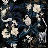 Tropical vintage night landscape, dark palm trees, hibiscus plumeria flower, palm leaves, stars, wild animal floral seamless pattern black background. Exotic jungle wallpaper. - 312833946
