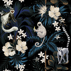 Panel Szklany Współczesny Tropical vintage night landscape, dark palm trees, hibiscus plumeria flower, palm leaves, stars, wild animal floral seamless pattern black background. Exotic jungle wallpaper.