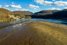 Very Low Water Level In Cheat Lake Near Morgantown Showing A Large Sand Bank Where The Lake Used To Be