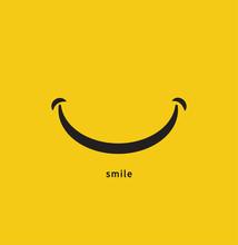 Smile Icon On Yellow Backgroun...