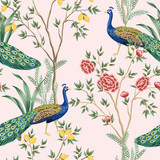 Rocznika cytryny ogrodowy owocowy drzewo, roślina, egzotyczny pawi kwiecisty bezszwowy wzór menchii tło. Egzotyczna tapeta chinoiserie. - 312835980