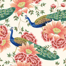Vintage Chinese Flower Lotus Rose, Leaves, Peacock Bird Seamless Border Pink Background. Exotic Oriental Wallpaper.