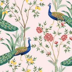 Panel Szklany Drzewa Vintage garden lemon fruit tree, plant, exotic peacock floral seamless pattern pink background. Exotic chinoiserie wallpaper.