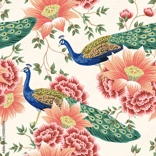 Tapeta do sypialni  vintage-chinese-flower-lotus-rose-leaves-peacock-bird-seamless-border-pink-background-exotic