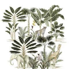 Panel Szklany Zwierzęta Tropical vintage elephant, giraffe, leopard, sloth wild animals, palm tree, banana tree and plant floral print. Exotic jungle safari illustration.