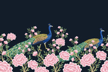 Vintage Chinoiserie Floral Pea...