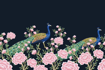 Panel Szklany Podświetlane Egzotyczne Vintage chinoiserie floral peacock bird, flower roses seamless border black background. Exotic oriental wallpaper.