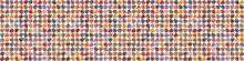 Kawaii Fun Swirl Polka Dot Vector Border Texture Background. Playfull Masculine Speckled Seamless Banner Pattern. Moody Dotty Style Edging. Handmade Geometric Boho Backdrop. Repeat Ribbon Trim