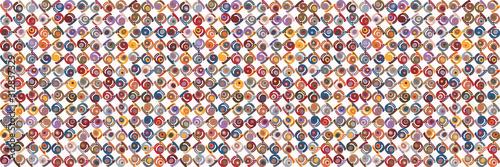 Fototapeta  Kawaii fun swirl polka dot vector border texture background
