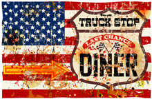 Vintage Route 66 Diner And Truck Stop Sign, Retro Style, Vector Illustration