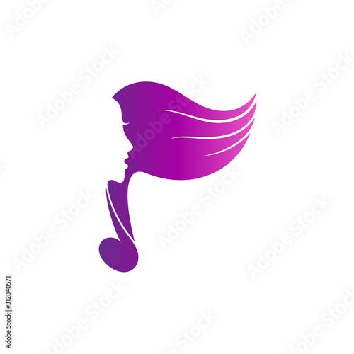 Cuadros en Lienzo Singer silhouette with music note logo design, female/lady singer flat style log