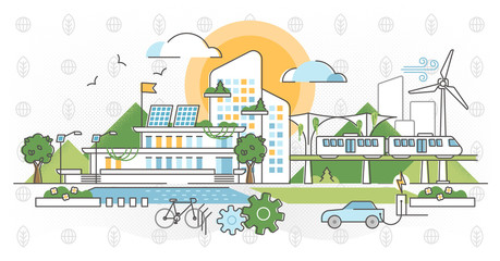 Green infrastructure vector illustration. Ecological city outline concept.