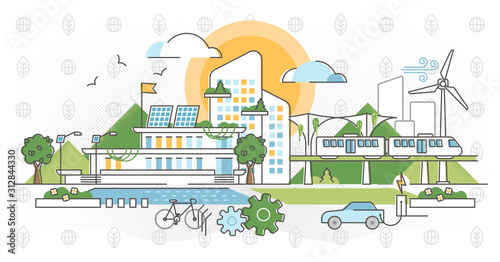 Green infrastructure vector illustration. Ecological city outline concept. - 312844330
