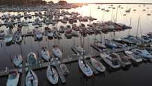 Aerial View Of Boat Dock, Yach...