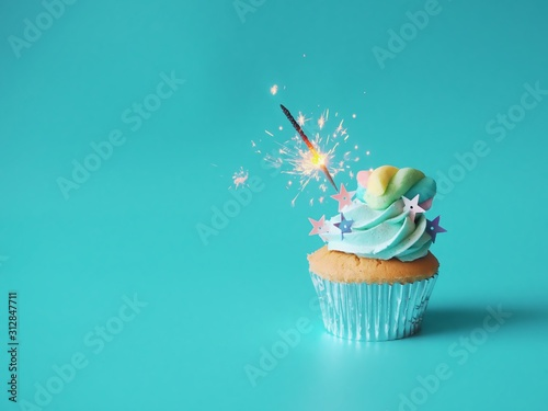 Photo cupcake with candle