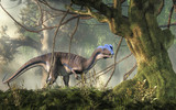 Dilophosaurus was a theropod dinosaur of the early Jurassic period in North America. A predator, it's named for the two crests on its head. Depicted in a jungle. 3D Rendering