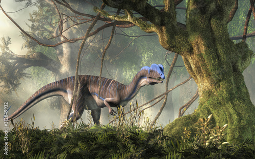 Photo Dilophosaurus was a theropod dinosaur of the early Jurassic period in North America