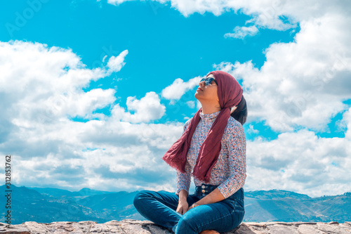 Feeling of freedom in young woman portrait Canvas Print