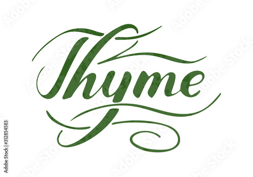 Cuadros en Lienzo  Vector hand written thyme text isolated on white background