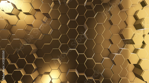 golden honeycombs, hexagon surface, abstract 3d background and texture, render image for internet design - 312855561